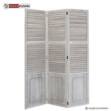 3 part wooden room divider privacy screen partition grey Vintage with slats