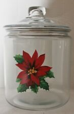 Anchor Hocking Holiday Poinsettia Gallon Glass Jar/Canister - NWT
