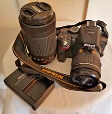 Clean Nikon D5300 Digital SLR Camera 2 Lenses KIT 18-55mm & 70-300mm AF-P NIKKOR