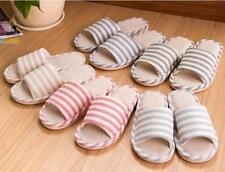 Hot Women's Mens Living Room Open Toe Striped Slippers Casual Bedroom Non-Slip