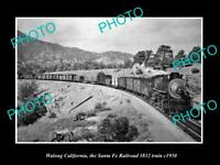 POSTCARD SIZE PHOTO WALONG CALIFORNIA THE SANTA FE RAILROAD 3832 TRAIN c1950