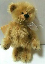 Deb Canham Artist Designs Miniature Mohair Teddy Bears Fluffy Tan Ribbon Vintage