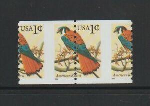 US EFO, ERROR Stamps: #3044 Kestrel Bird coil pair w/ nice perf shift! MNH