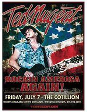 "TED NUGENT ""ROCKIN AMERICA AGAIN!"" 2017 WICHITA CONCERT TOUR POSTER - Hard Rock"