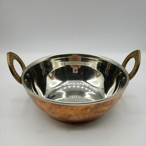 "Hammered Copper Steel Lined Kadhai Wok Bowl Dish 7.5"" Pot Pan Brass Handle"