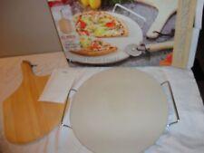 "BIALETTI PIZZA BAKING SET PIZZA STONE 14 3/4"" SERVING RACK WOODEN PIZZA PEEL"