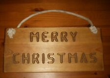 Rustic Plain Wood Merry Christmas Hanging Sign