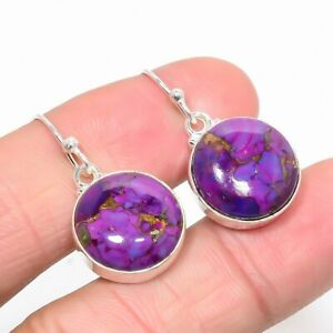 """Copper Mohave Purple Turquoise 925 Sterling Silver Earring 1.18"""" T2916"""