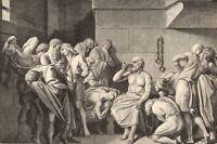 Death of Greek Philosopher SOCRATES Drinking Poision ~ 1882 Art Print Engraving