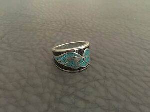 VINTAGE 1980'S WHITE BRONZE ROCK & ROLL INLAID STONE EAGLE MENS RING SZ.9