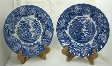 "Lot 2 Enoch Wood's English Scenery Swirl Woods Ware Made England 8"" Salad Plates"