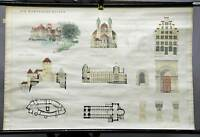 vintage picture poster wall chart, architecture, Romanic, round arch