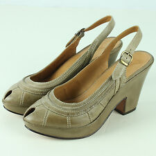 Frye Womens Size 7B 7.5 Western Shoes Peep Toe Slingback 3 Inch Heels Cowboy