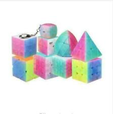 9 in 1 Qiyi Cube Magic Cube Jelly Candy Color Clear Stickerless Puzzle Cube Toys