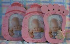 New Baby 1st Photo Frames Bottle & Footprint Shape Set of 4 Frames