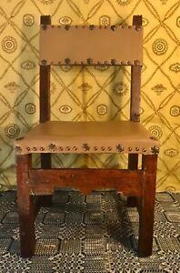 18th Century Spanish Colonial Solid Walnut & Leather Child's Chiar