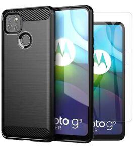 For Motorola Moto G9 Power Case Carbon Fibre Cover & Glass Screen Protector