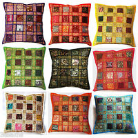 """Cushion Cover 16x16"""" 40cm Indian Heavy Embroidery Sari Patchwork Square Moroccan"""