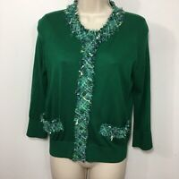Kate Spade Medium Crewneck Cardigan Sweater Silk Blend Tweed Trim Green 3/4 Slv