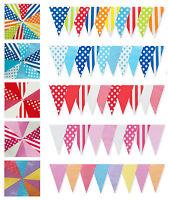 10m Bunting Pink Blue Red Polka Dot Check Stripe 20 Flag MultiMix GardenOutdoor