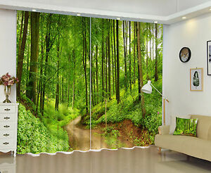 3D Window Mural Photo Printing Curtains Green Forest Road Blockout Drapes Fabric