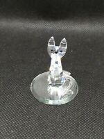 Crystal happy cat figure on glass plate cute Collectible zoo symbol