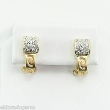 1.00 CT. GENUINE DIAMOND CLUSTER J-TYPE OMEGA BACK EARRINGS 14K YELLOW GOLD