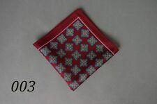 Classic Mens Silk Handkerchief  Wine Red Geometric Pattern Pocket Square Hanky