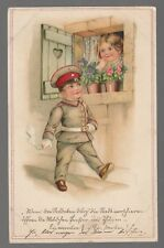 [43483] 1915 GERMAN POSTCARD WORLD WAR I SOLDIER PASSING YOUNG GIRL