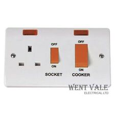 Click Mode CMA205 - Moulded 45a Cooker Control Switch and Socket with Neons  New