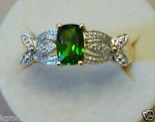 10KT YG RUSSIAN Chrome Diopside & Diamond CUSSION CUT  RING SIZE 8