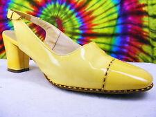 7-7.5 vtg 60s yellow patent slingback heels pumps shoes