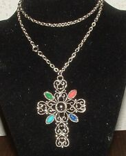 AVON SILVERTONE CROSS PENDANT NECKLACE W/COLORED STONES