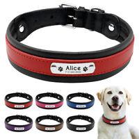 Pet Artist Collar para perro de perro grabado personalizado de piel acolchada