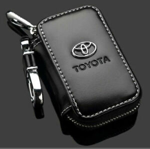 Leather cowhide Car Key Holder Keychain Ring Case Bag Fit For TOYOTA
