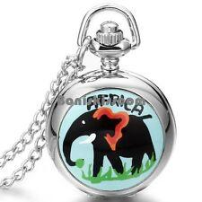 Africa Elephant Arabic Numerals Quartz Pocket Pocket Watch Mens Womens Necklace