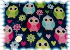 Kuschelnicky Owls Kinderstoff blau Fleece Plüsch Eulen 50 cm Eulenstoff
