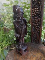 Antique Chinese Wise Man Carved Wood  Fascinating Eyes Was once Table lamp Base