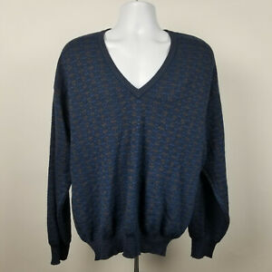 Neiman Marcus Mens Blue Diamond Pattern V Neck Pull Over Pure Wool Sweater XL