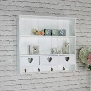 White wall shelving unit vintage French 2 shelf bedroom bathroom hallway storage