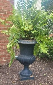 """VINTAGE ANTIQUE CAST IRON FRENCH GARDEN PLANTER URN - Large 30.5"""" Free shipping"""