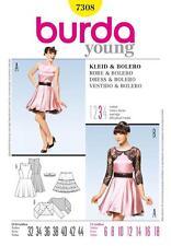 BURDA SEWING PATTERN LADIES DRESS & BOLERO swinging SKIRT SIZE  6 - 18  7308