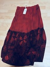 M.S.S.P Sarong Wrap Style Long Skirt Deep Red Black Geometric w/elastic waist S