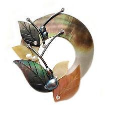 HANABE KOREA Handmade Mother of Pearl Crystal Rhinestone Flower Brooch Pin Gray