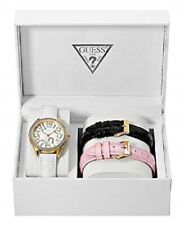 New Authentic GUESS U10539L1 Women's Interchangeable Leather Strap Watch box set