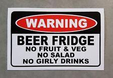 Beer Fridge Warning sticker - funny beer sticker for your beer fridge..
