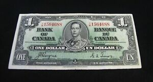1937  One Dollar Canada Bank Note  Nice Collectable Note With Nice Color.