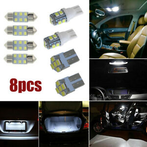 8Pcs White LED Bulbs For Car Interior Dome Map License Plate Lights Package Kits