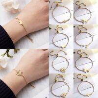 Stainless Steel Adjustable Bracelet Women Girls Family Bangle Gold Chain Jewelry
