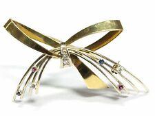 Brosche Gold Brillanten Diamanten Rubine Saphire 585 Gelbgold Weißgold ca. 6,8g